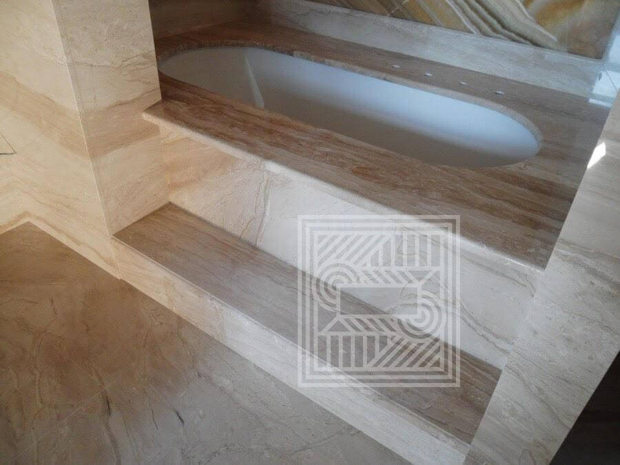 Ванная комната облицованная мрамором Daino walls, furniture - 6