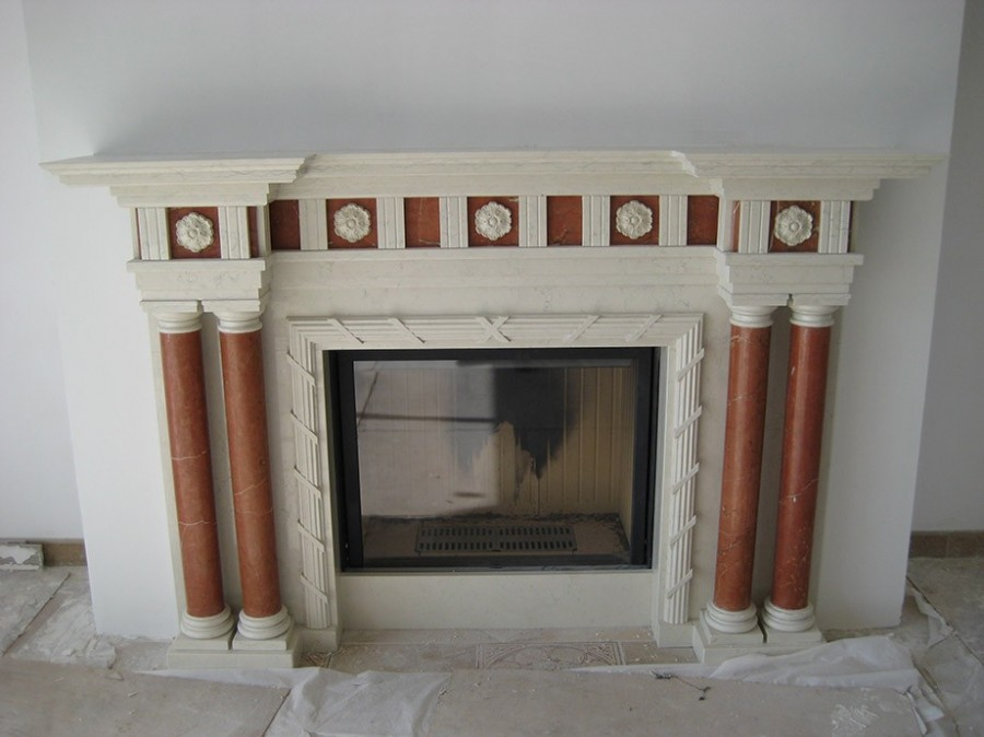 Камин из мрамора Botticino + Rosso Alicante fireplace-marble - LARGE 14 1 1