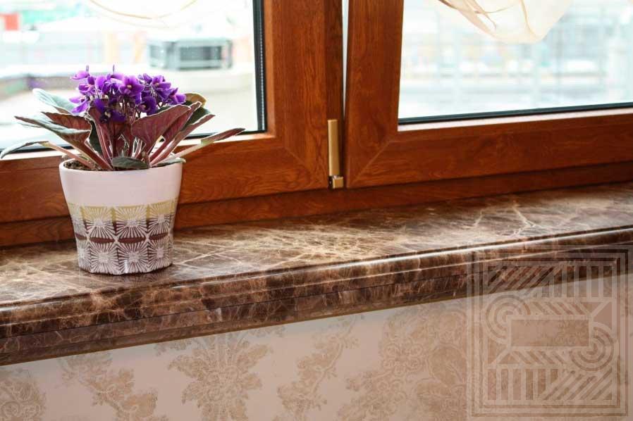Подоконник из мрамора Emperador Brown 60 mm windowsill-marble - Podokonnik iz mramora Emperador Brown 30