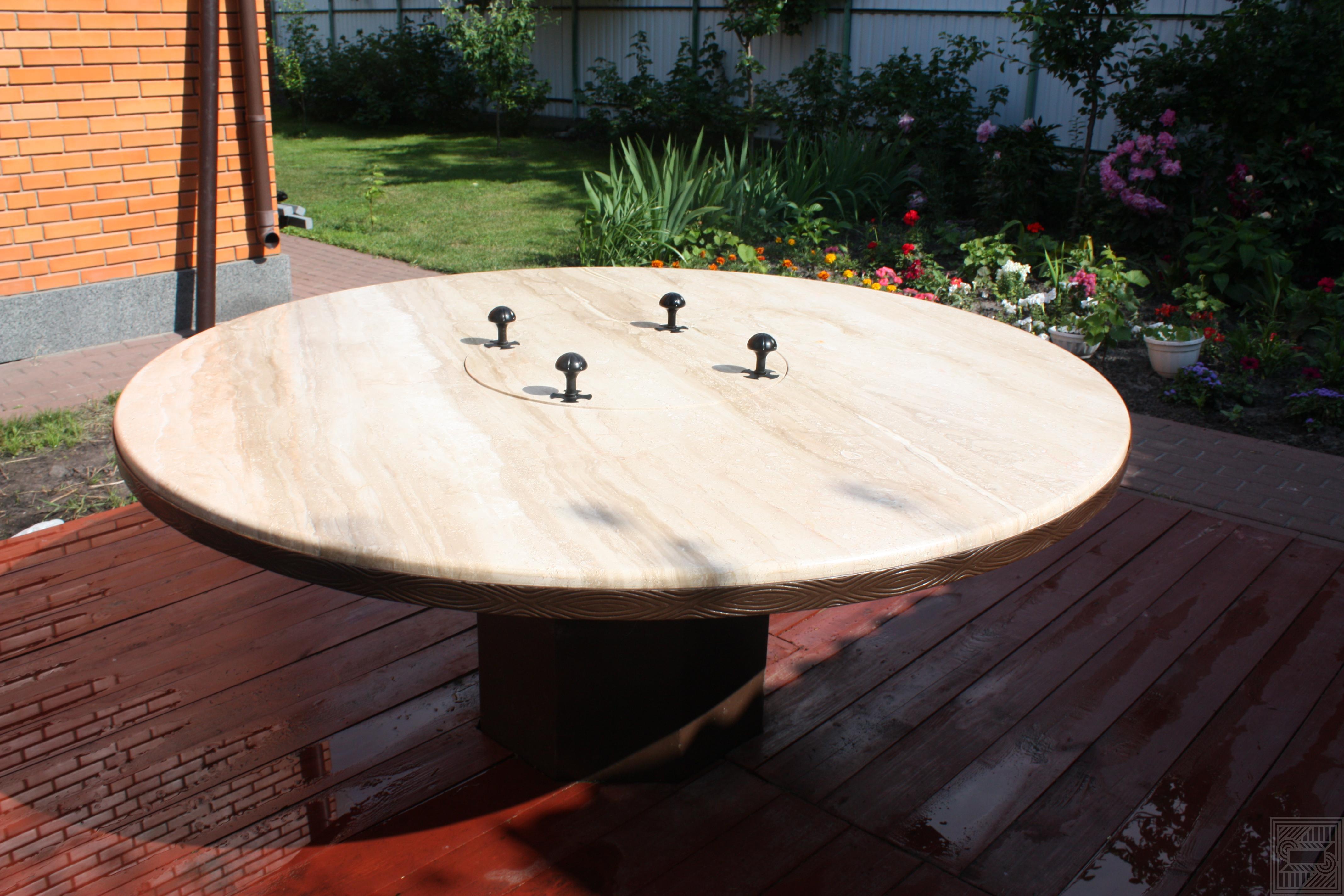 Стол-мангал диаметром 1800 мм из мрамора Daino 30 мм furniture - Stol mongal diametrom 1800 mm iz mramora Daino 30 mm 2