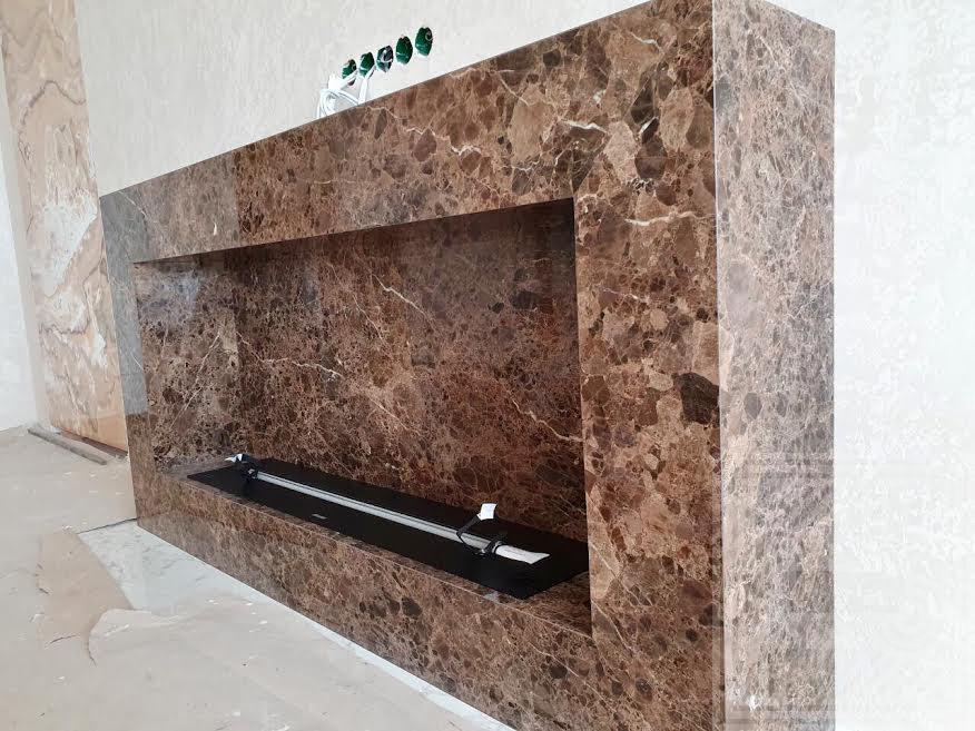 Облицовка биокамина мрамором Emperador 20 мм fireplace-marble - 1
