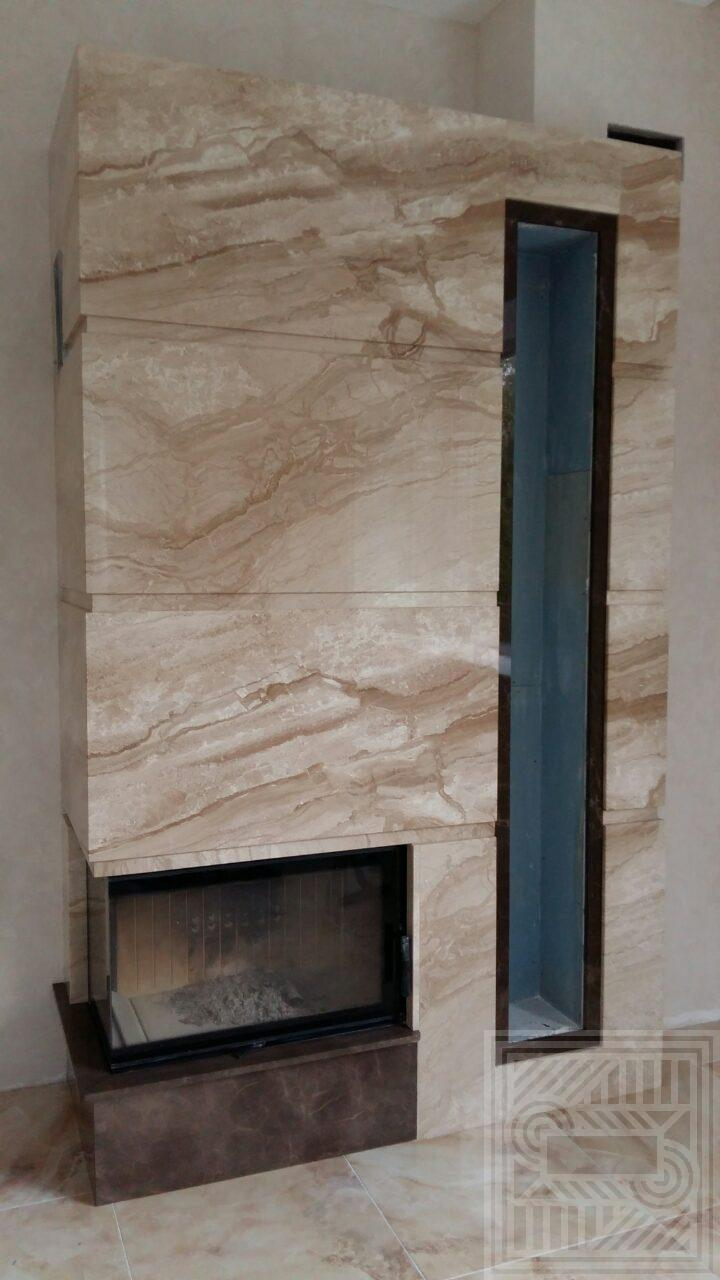 Камин из мрамора Daino и Bronz Brown 20 мм fireplace-marble - Kamin iz mramora Daino i Bronz Brown 20 mm 2