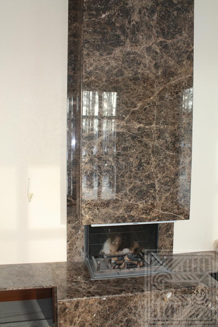 Облицовка камина мрамором Emperador 20 мм fireplace-marble - Oblitsovka kamina chastichno mramorom Grigio Carnico 20 mm 12