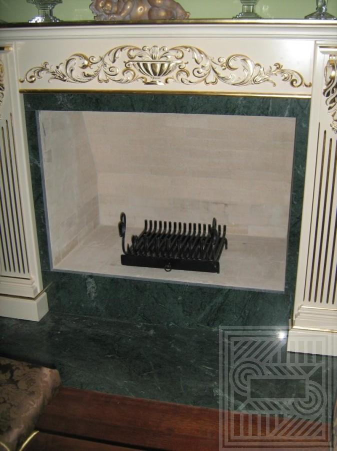 Облицовка камина мрамором Verde Gvatemala 20 мм fireplace-marble - Oblitsovka kamina chastichno mramorom Verde Gvatemala 20 mm