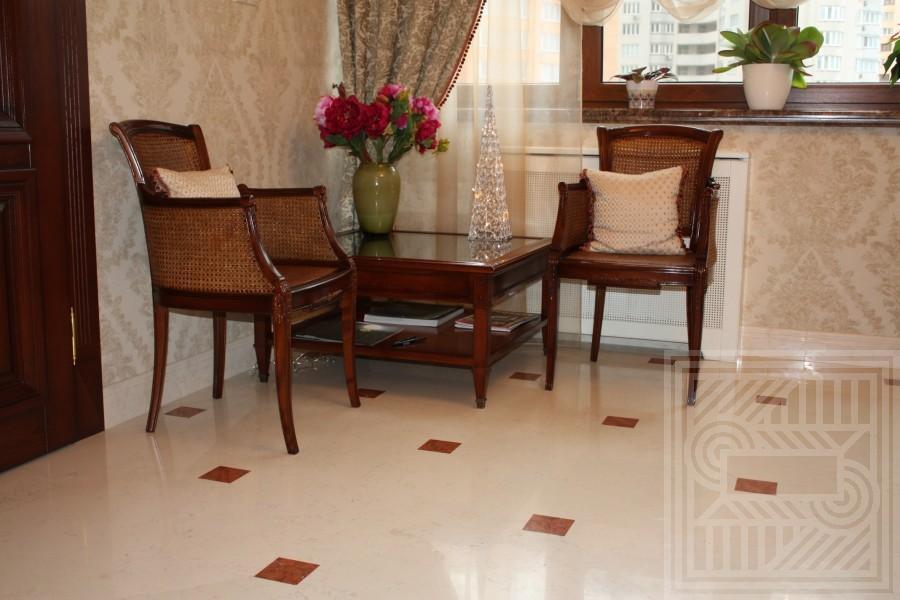 Пол из мрамора Perlino Bianco с вставками Rosa Verona floor-marble - LARGE 10