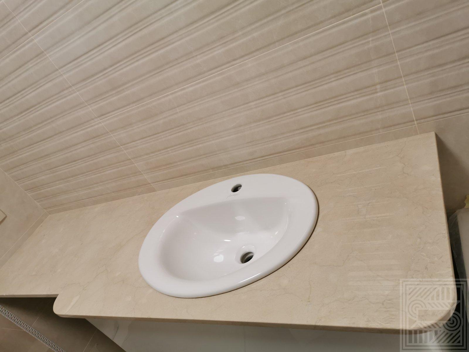 Столешница в ванную комнату из мрамора Crema Marfil. worktop-marble - Stoleshnitsa Crema Marfil 2
