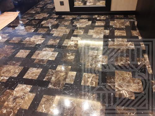 Пол из мрамора Emperador и Nero Marquina floor-marble - Pol iz Emperador i Nero Marquina