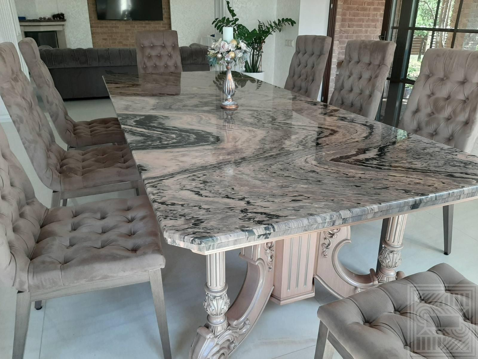 Стол со столешницей из мрамора Mercury Brown desk, worktop-marble - Stol so stoleshnitsej iz mramora Mercury Brown