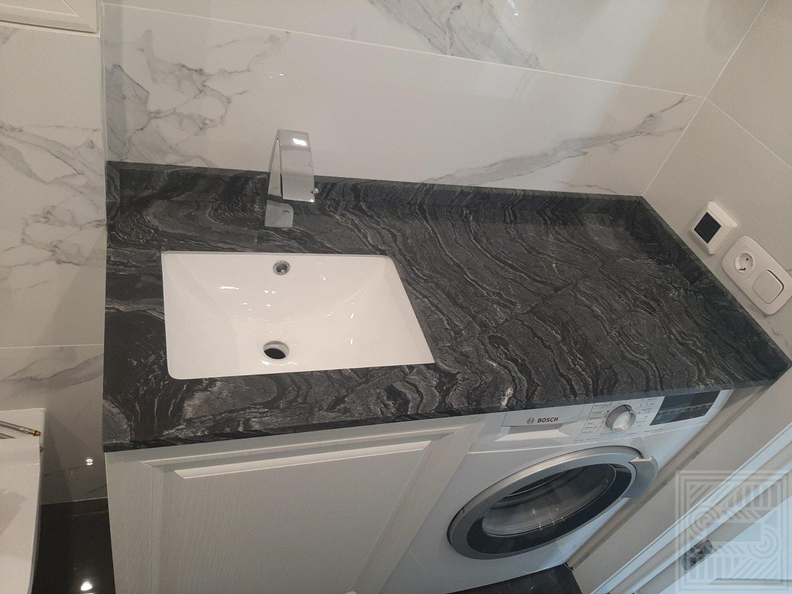 Ститолешница в ванную комнату из мрамора Black Wood worktop-marble - Stoleshnitsa Black Wood 2020